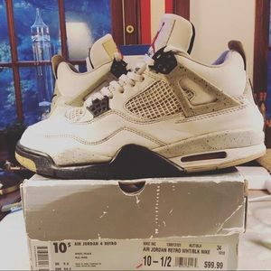 1999 Air Jordan 4 Black White Cement S 10.5 OG ALL
